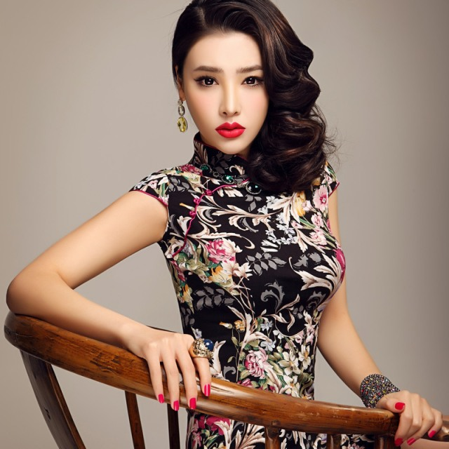 Free-shipping-2012-women-fashion-print-black-chinese-dress-cheongsam-dress-qipao